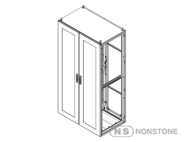 cont. MEDG Series Modular Enclosures Package 4 Double Bay, Front Glass Door with Rear Steel Door, IP55